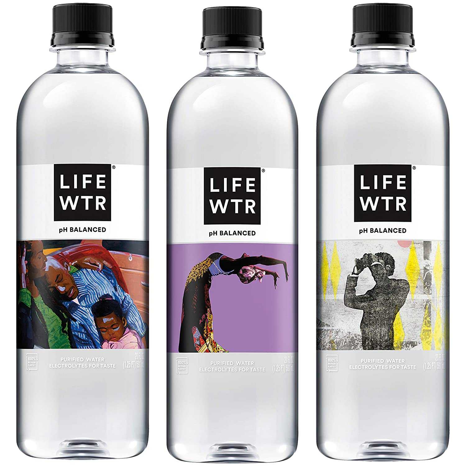 LIFEWTR Premium Purified Water, pH Balanced with Electrolytes for Taste, 20oz Bottles (20 Pack) (Packaging May Vary)