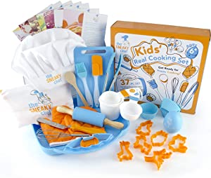 The Sneaky Chef Kids Cooking/Baking Set 35 Piece BPA Free, Child-Safe Essential Junior Utensils, Cooking Protection, Storage Case, Cookie Cutters, and 7 Healthy Recipe Cards - Ages 6+