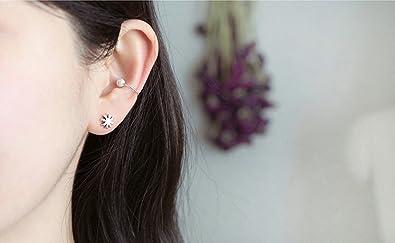 f57d3b5424ef Joyería Gnzoe Pendientes Mujer 1 Par Plata Perlas Clip de Oreja Pendiente  925 Plata Piercing Falso Clips de Oído  Amazon.es  Joyería