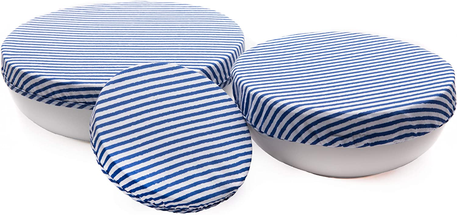 Reusable Bowl Cover – Elastic Bowl Covers Set of 3 Sizes – Stretch Bowl Covers – Reusable Food Covers – Cotton Fabric Bowl Covers with Food Safe Airtight Lining – Waterproof Eco Friendly Bowl Covers