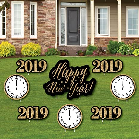 Amazon.com: Big Dot of Happiness New Year\'s Eve - Gold - Yard Sign ...