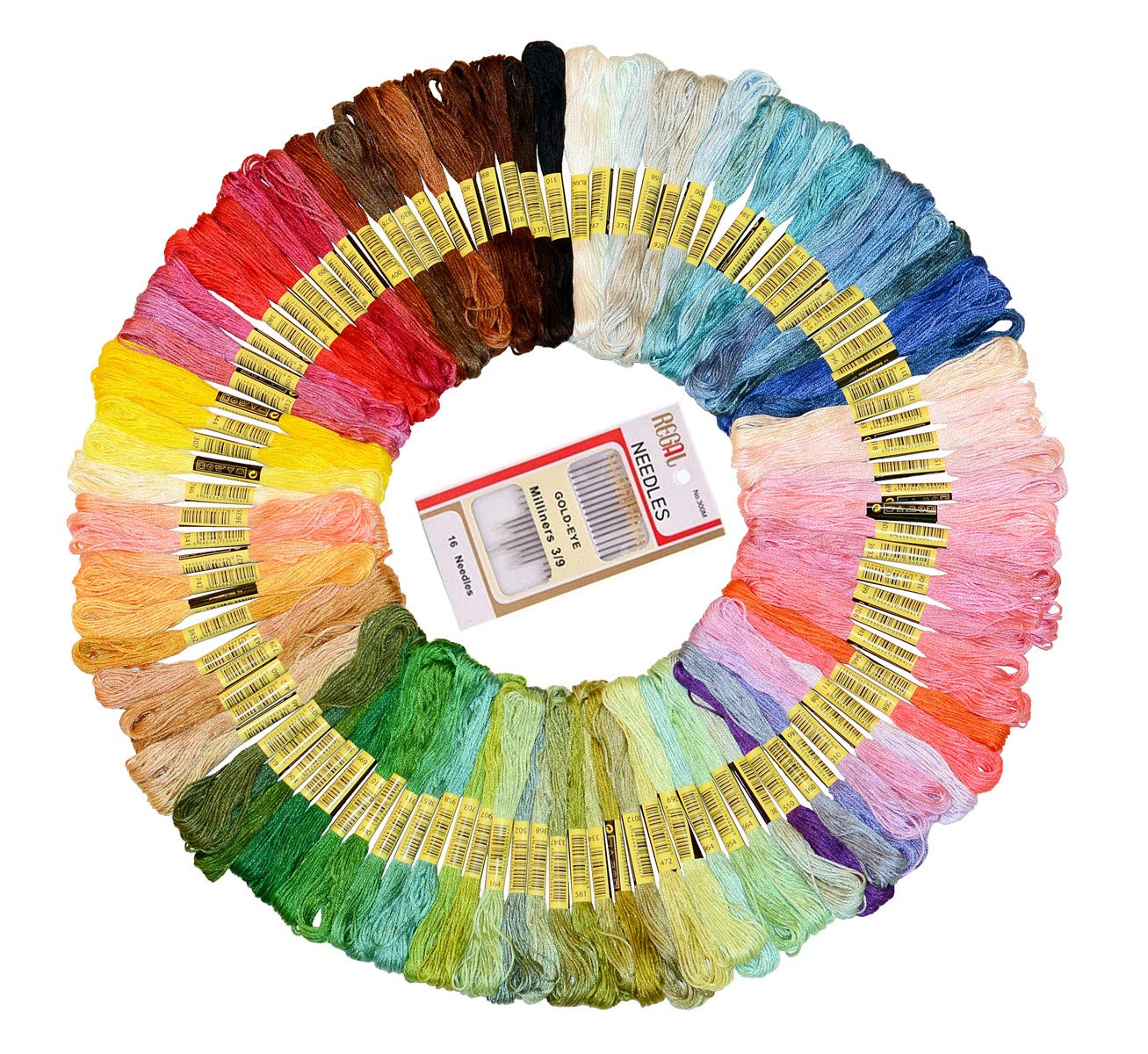 Embroidery Floss, 100 Skeins Per Pack Embroidery Cross Stitch Threads, Crafts Floss, Premium Rainbow Color Embroidery Sewing Threads, Friendship Bracelets String and 16 Pcs Embroidery Needle Brilliant store