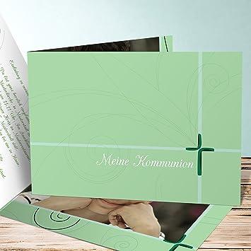 Kommunion Einladungskarten Selbst Basteln Schöpferkraft 5 Karten Horizontale Klappkarte 148x105 Inkl Weiße Umschläge Grün