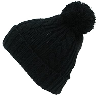 eaeffffed5e BLACK CABLE KNIT BOBBLE HAT WARM WINTER BEANIE with POM POM  Amazon.co.uk   Clothing