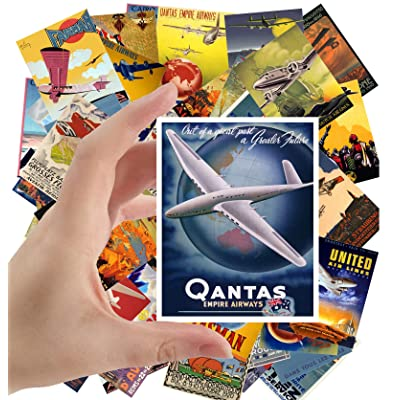 "Large Stickers (24 pcs 2.5""x3.5"") Vintage Travel Posters Aviation Planes European: Toys & Games"