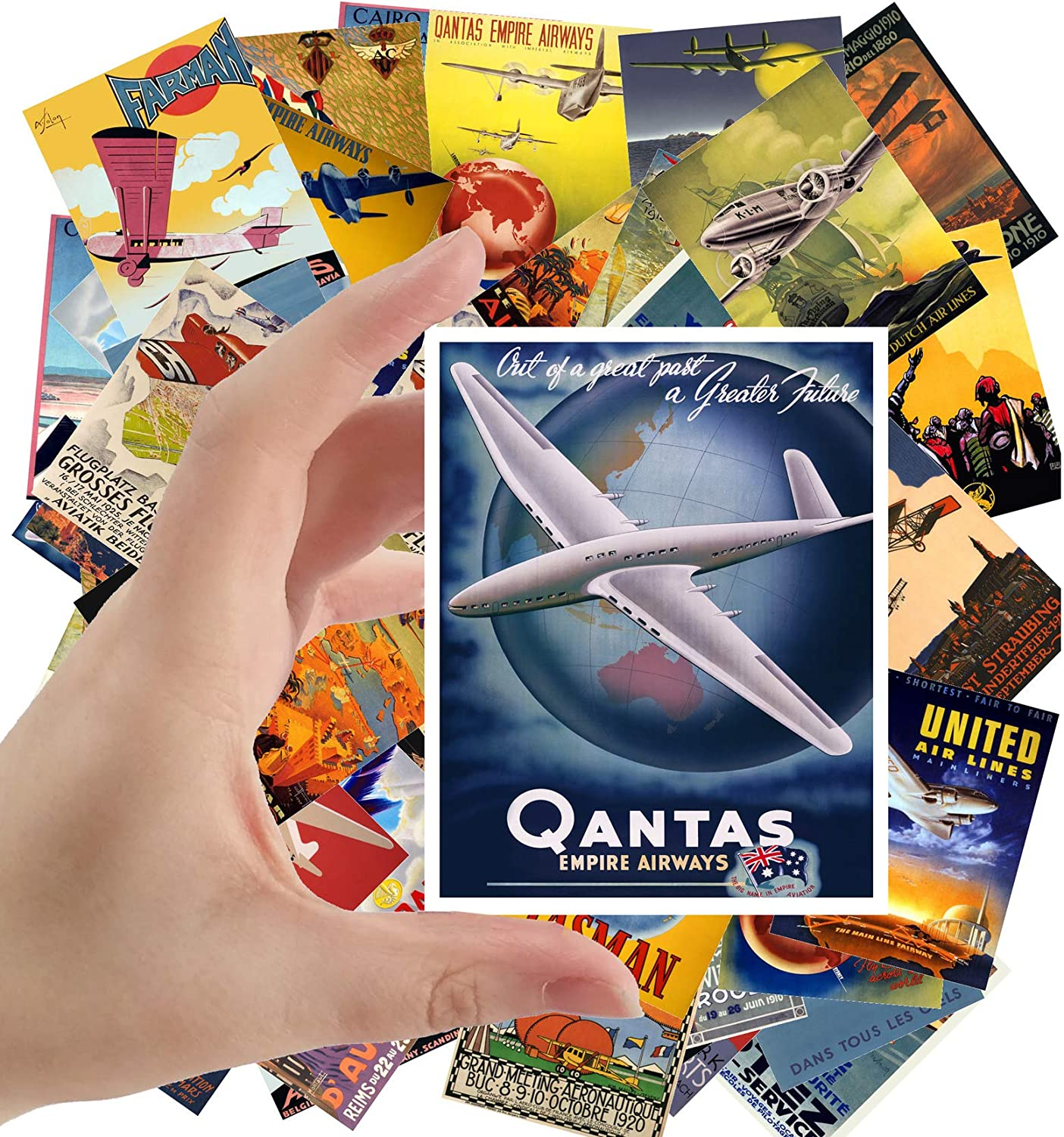 "Large Stickers (24 pcs 2.5""x3.5"") Vintage Travel Posters Aviation Planes European"