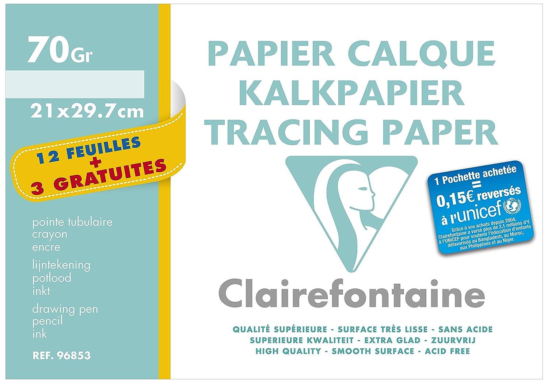 Clairefontaine Lot de 2 Papier à dessin en pochette de 12 + 3 feuilles 21 x 297 mm Bistre 196555AMZC