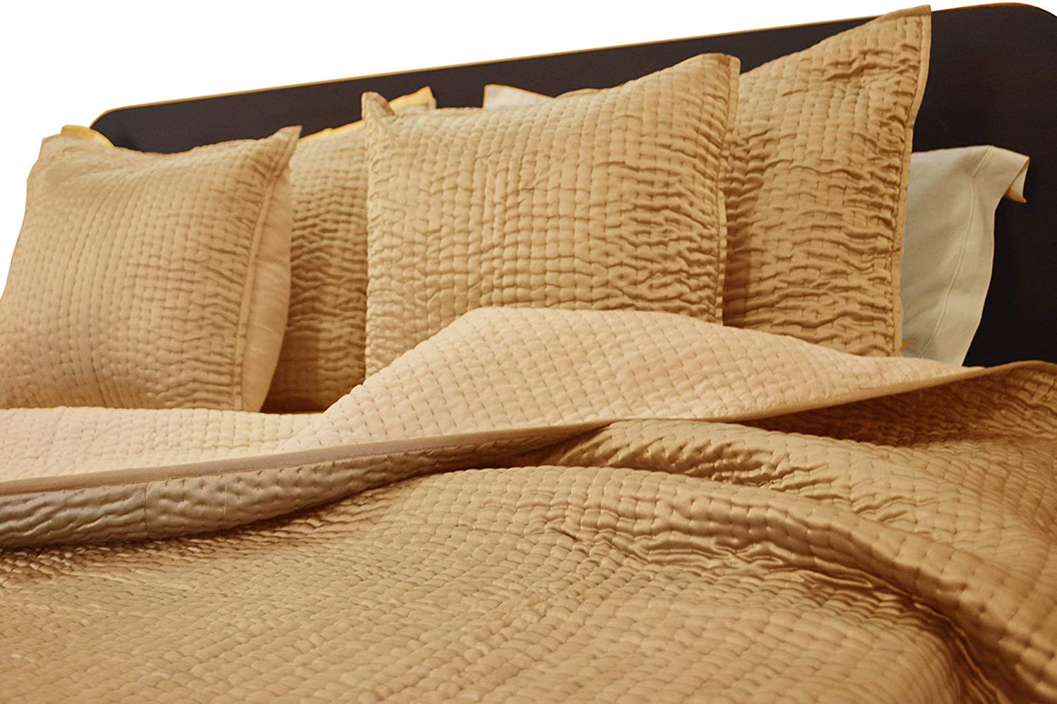 Image of Luxe Beige Satin Channel Quilted Bedspread, Pick Stitch Light Quilt, Luxury Valentines Day Gift Home and Kitchen