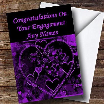 Amazon purple and black love heart romantic personalized purple and black love heart romantic personalized engagement greetings card m4hsunfo