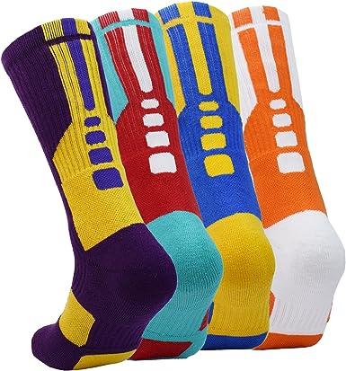 Amazon.com: 4 pares de calcetines deportivos de baloncesto ...