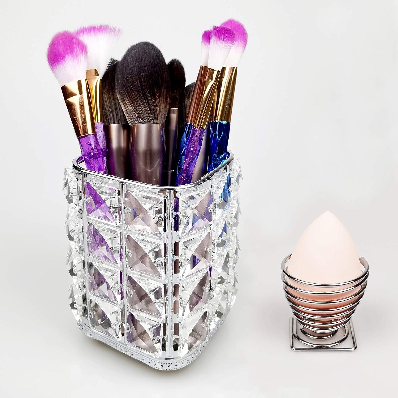Crystal Makeup Brush Holder + Beauty Sponge Blender Holder, Multi-function Sparkly Crystal Holder Makeup Organizer Set Bling Brush Container & Stainless Egg Powder Puff Drying Stand, Crystal Silver
