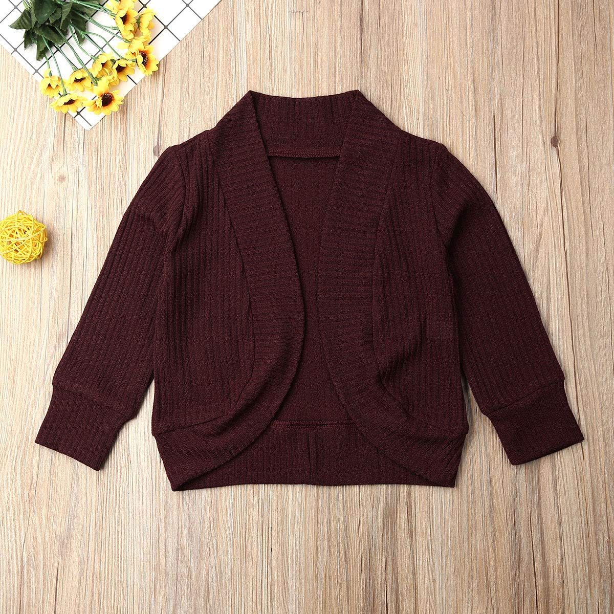 Toddler Baby Girl Knitted Sweater Cardigan Solid Color Long Sleeve Fall Winter Coat Outfits