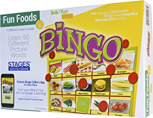 Stages Learning Materials Link4fun Real Photo Fun Food Bingo Game for Family, Preschool, Kindergarten, Elementary Education:36 Picture Cards and App