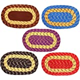 "Galaxy Home Decor Polyester Oval Doormat for Home 13"" x 21"", Multicolor - Combo Pack of 5"