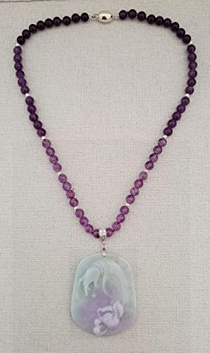 fb05e00e8 Image Unavailable. Image not available for. Color: Natural Amethyst Burma  Purple Green Jade Carved ...