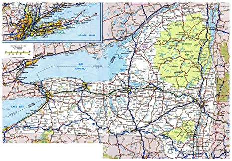Map Of New York Highways.Amazon Com Gifts Delight Laminated 34x24 Poster Road Map