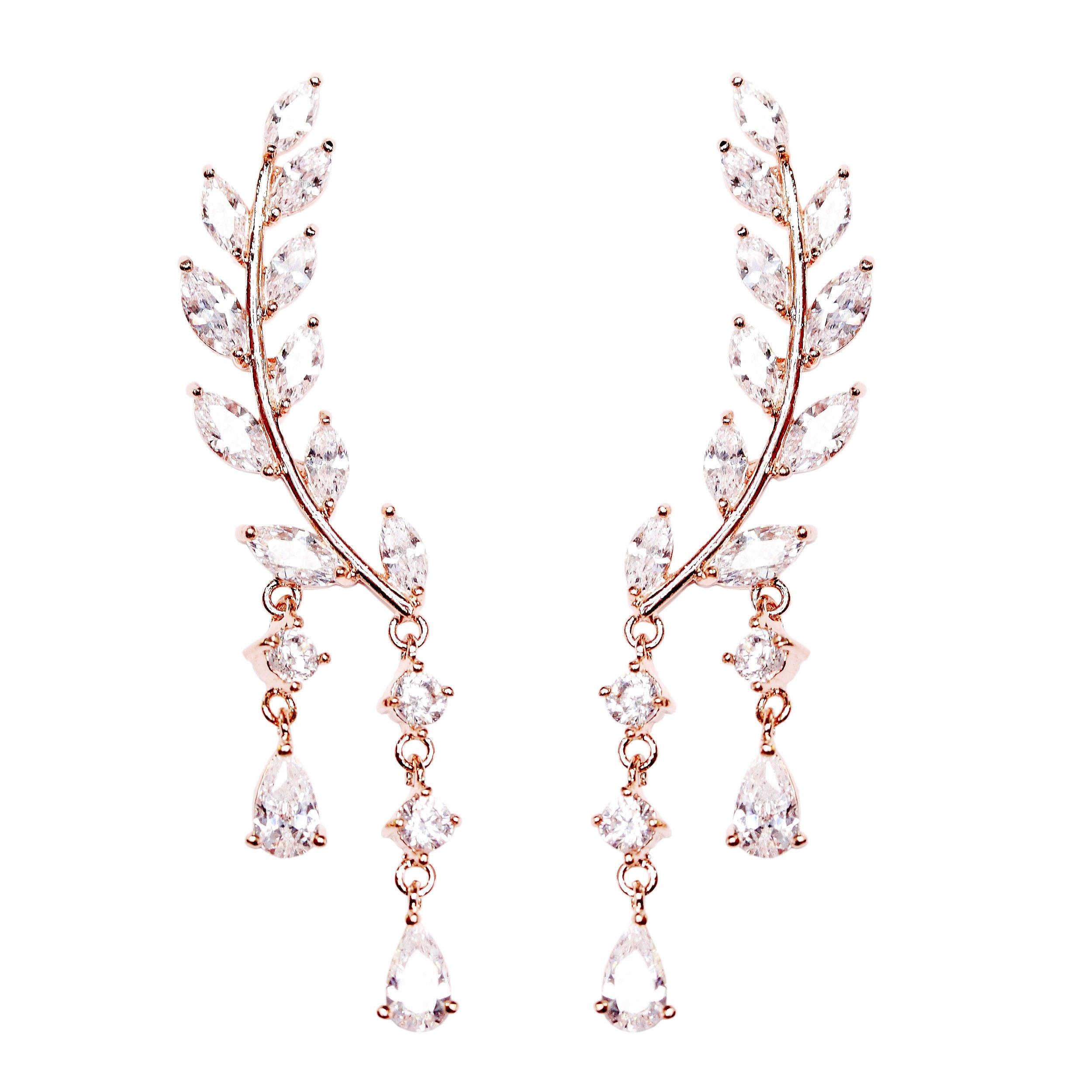 EVERU CZ Vine Jewelry Sweep Wrap Crystal Rose Gold Plated Leaf Ear Cuffs Set Stud Earrings for Women by EVERU