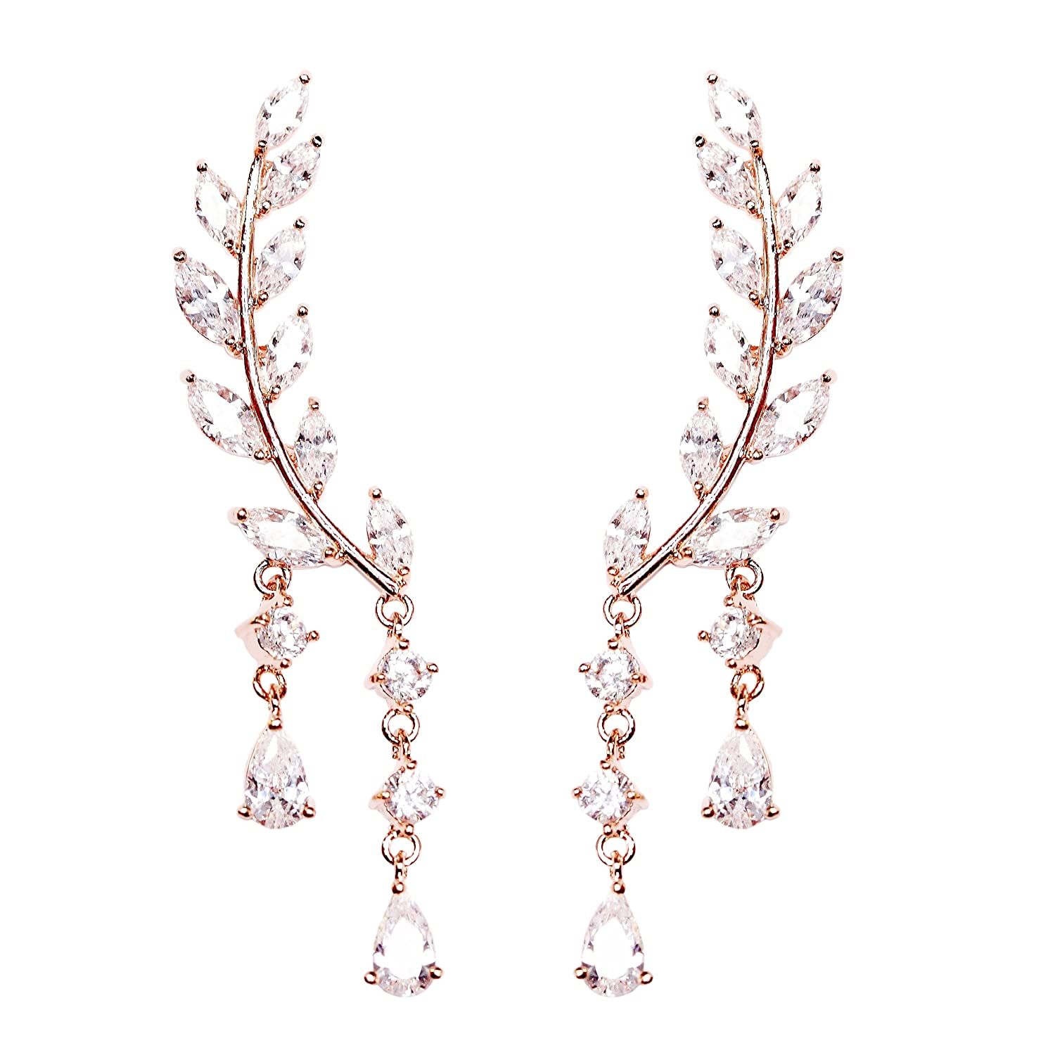 EC-025 EVERU CZ Vine Jewelry Sweep Wrap Crystal Rose Gold Plated Leaf Ear Cuffs Set Stud Earrings for Women Everu Comp