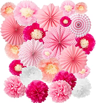 3 Classic Pink Polka Dot Party Round Paper Hanging Fan Decorations