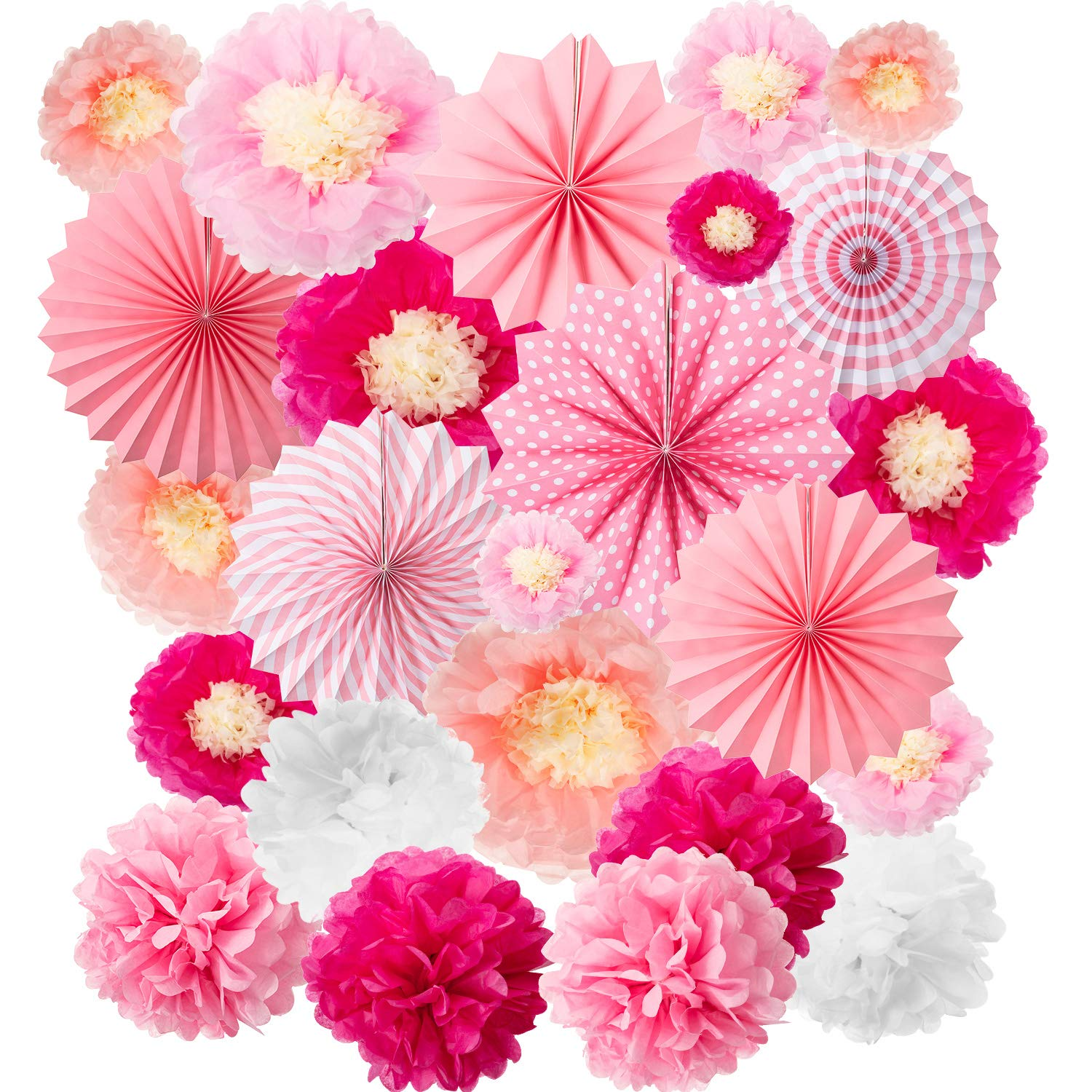 24 Pieces Party Hanging Set, Including 12 Tissue Paper Flowers Decorations, 6 Pink Paper Fans Garlands Decoration, 6 Paper Poms Ball Decoration Flowers Craft Kit for Birthday Baby Shower Festival by WILLBOND