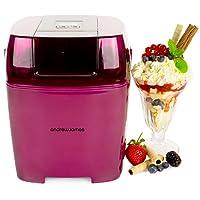 Andrew James Plum Digital Ice Cream, Sorbet and Frozen Yoghurt Maker - 1.5 Litre