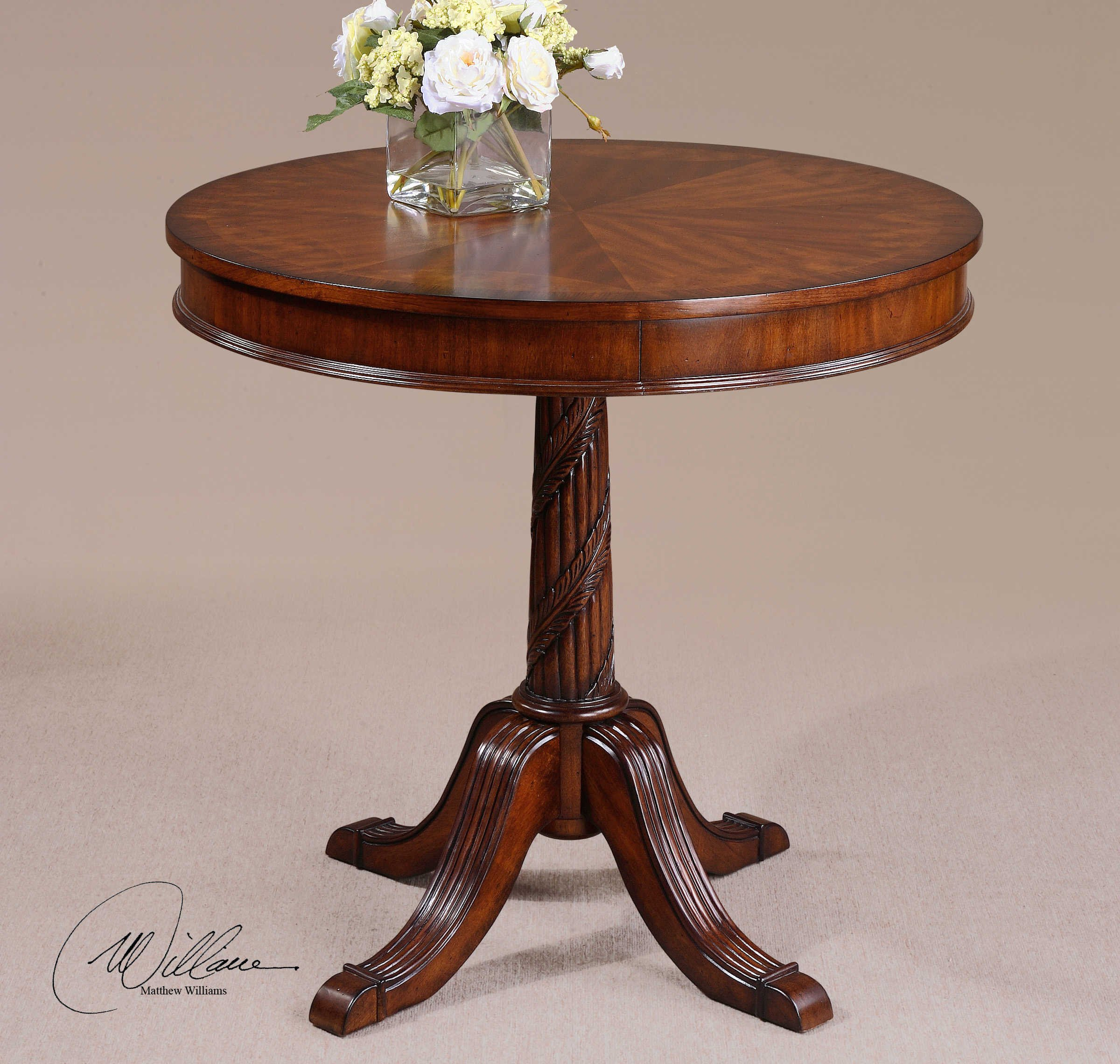 Vhomes Lights Pecan Round Table The Brakefield Collection Sofa-Tables by Vhomes Lights