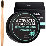 Activated Charcoal Natural Teeth Whitening Powder with Bamboo Brush by Lagunamoon- No Hurt on Enamel or Gum, Alternative to T