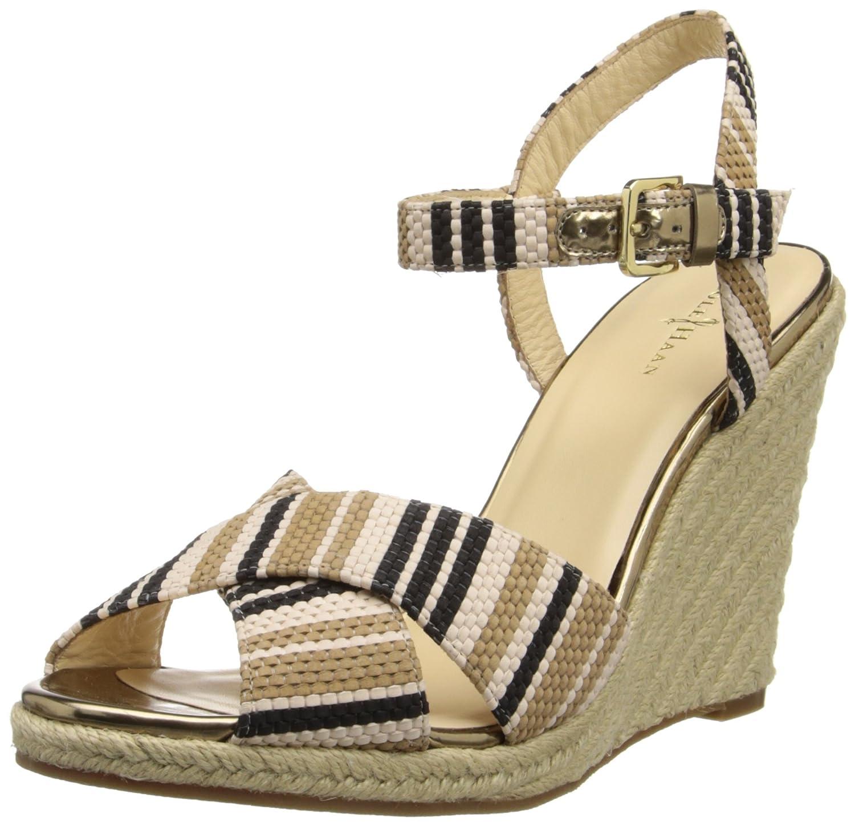 Cole Haan Women's Hart Wedge Sandal B005ABGHYM 8.5 B(M) US Black Stripe Raffia