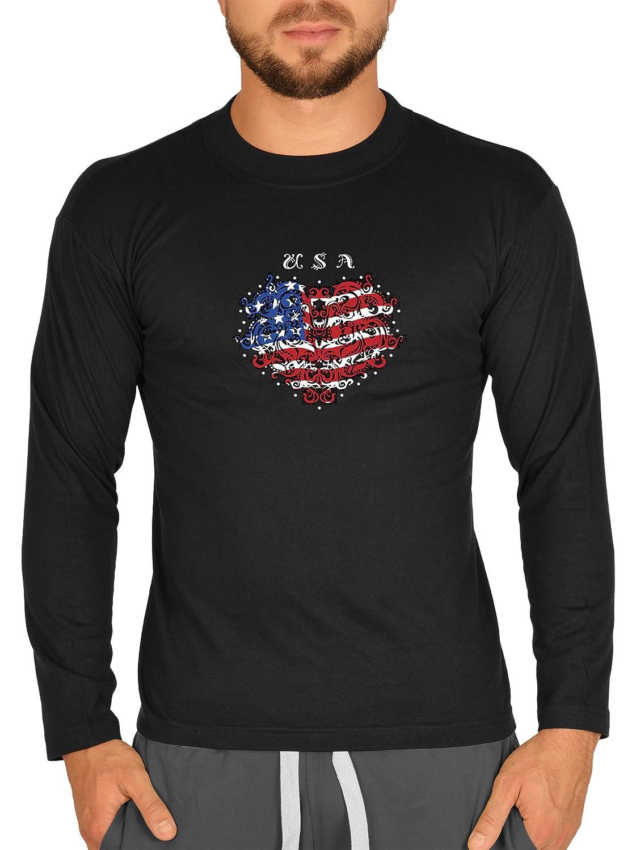 Biker Camisa – Estados Unidos My Heart – Camiseta de manga larga para verdadera Kerle negro XS: Amazon.es: Ropa y accesorios