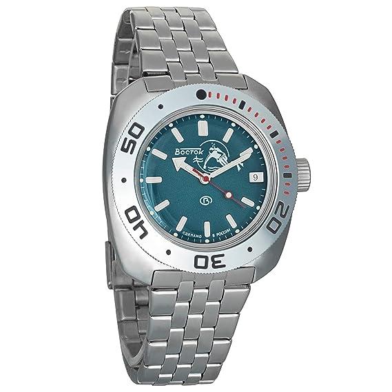 Amazon.com: Vostok Amphibian Scuba Dude Automatic Mens Wristwatch Self-Winding Military Diver Amphibia Ministry Case Wrist Watch #710059 (Blue): Watches