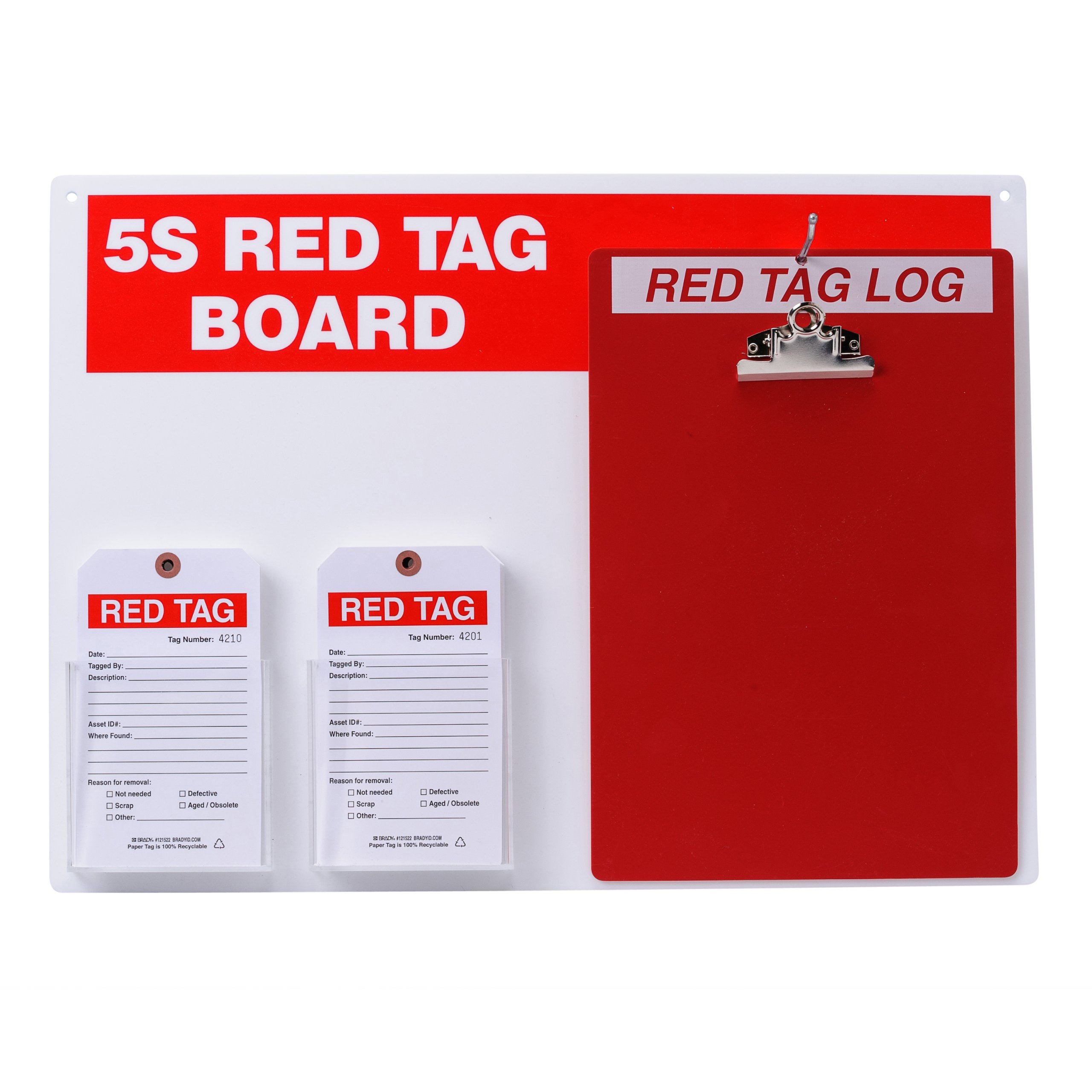 Brady  122057,  5S Red Tag Board w/Clipboard and 7'' x 4'' Tags (1 Kit)