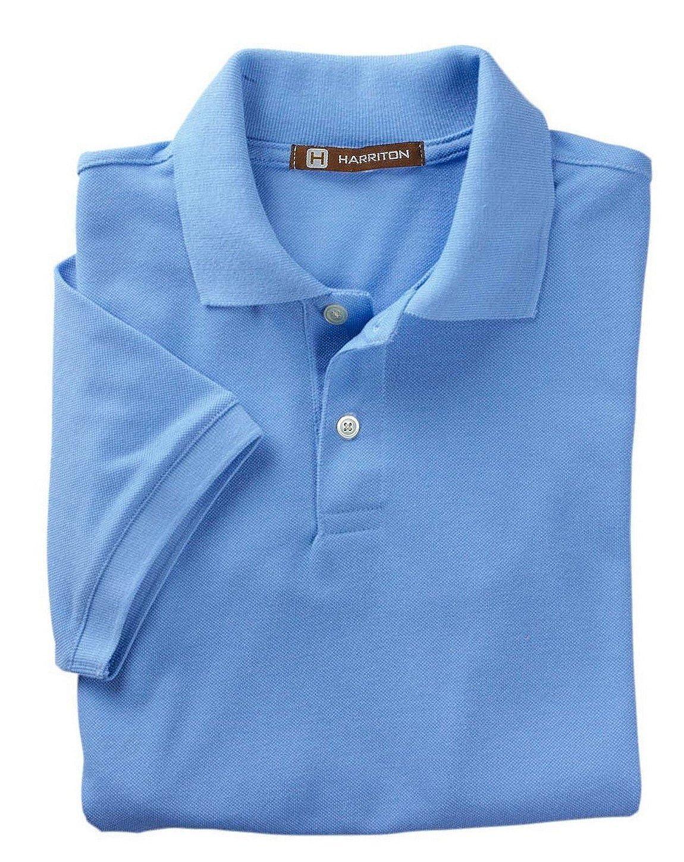 Easy Blend Polo Harriton-Mens 5 oz LIGHT COLLEGE BLUE
