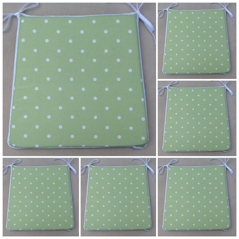 Un conjunto de 6 Apple verde diseño de lunares almohadillas de asiento de la silla (para asientos aprox. 16