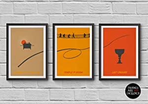 Indiana Jones Trilogy Minimalist Poster Set of 3 Films Raiders of the Lost Ark Temple of Doom Last Crusade Steven Spielberg Prints Collectibles Cult Movies Wall Artwork Home Decor Hanging Cool Gift