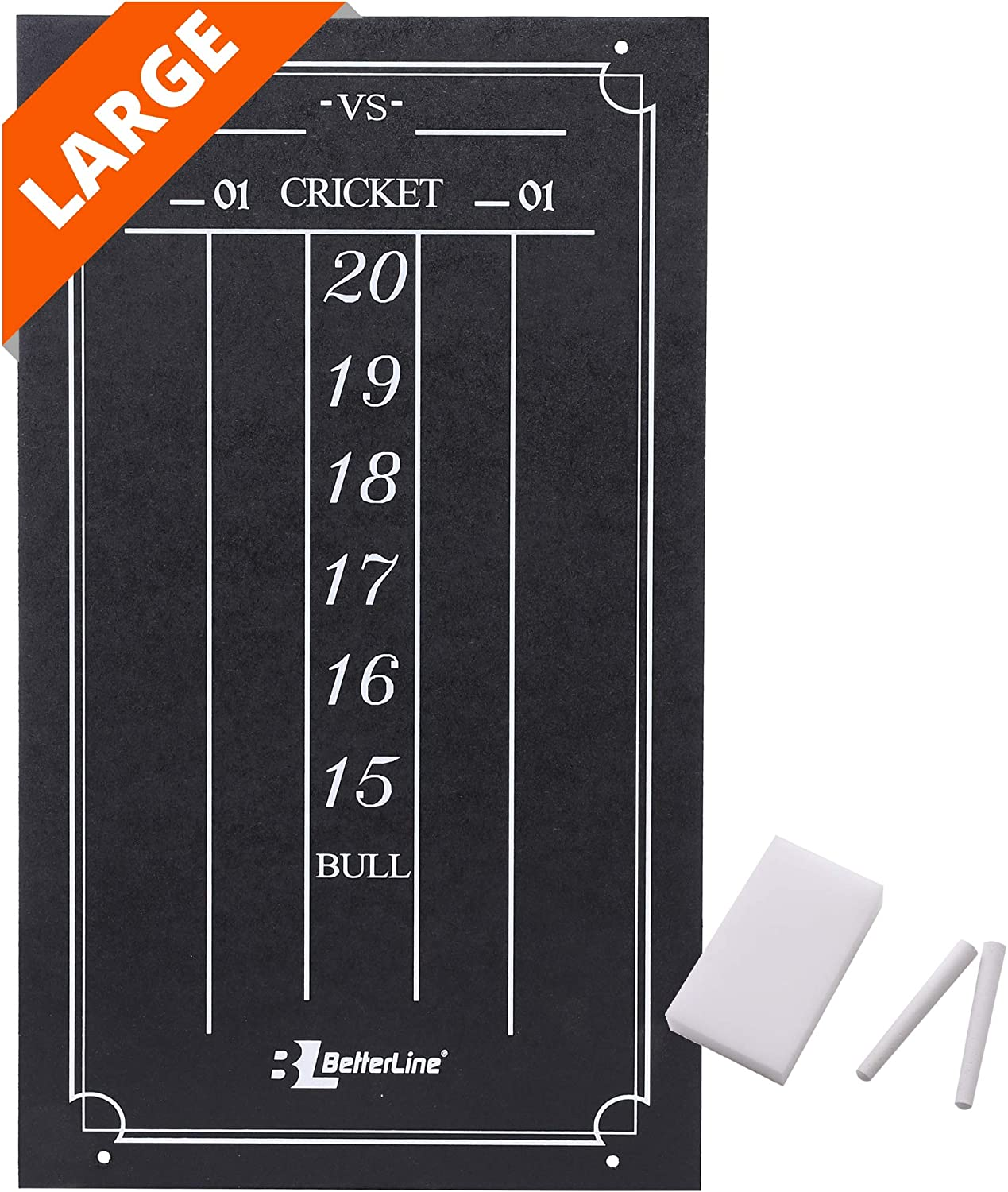 "BETTERLINE Large Professional Scoreboard Chalkboard for Cricket and 01 Darts Games - 15.5"" x 9"" Inch (39.3 x 22.9 cm) - Black Board - Eraser and 2 Chalk Pieces Included"