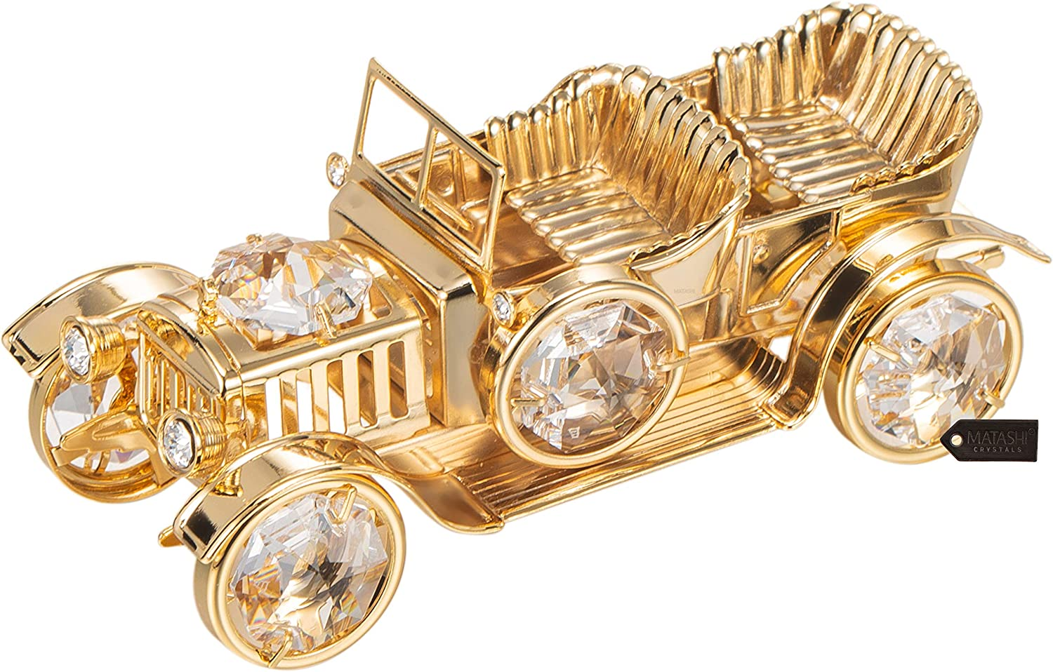 Matashi 24K Gold Plated Crystal Studded Vintage Car Ornament Classic Home Decor Desktop Decoration Showpiece Gift for Christmas Holiday New Year Birthday Ideal Gift for Friend Brother Son Children