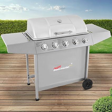BBQ Parrilla De Acero Barbacoa Gas 5 Quemadores con Ruedas | Su p. Cocina 70x35cm