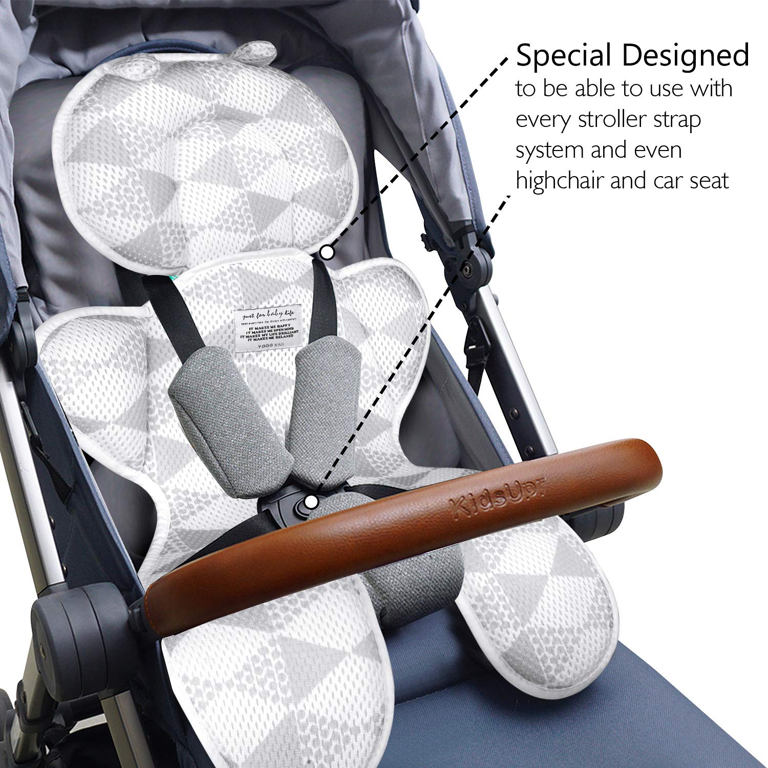 Luchild Baby Head Support Pillow Breathable 3D Mesh Cool Seat Mat Cushion Liner for Stroller Car Seat High Chair Pushchair - Gray by Luchild (Image #6)