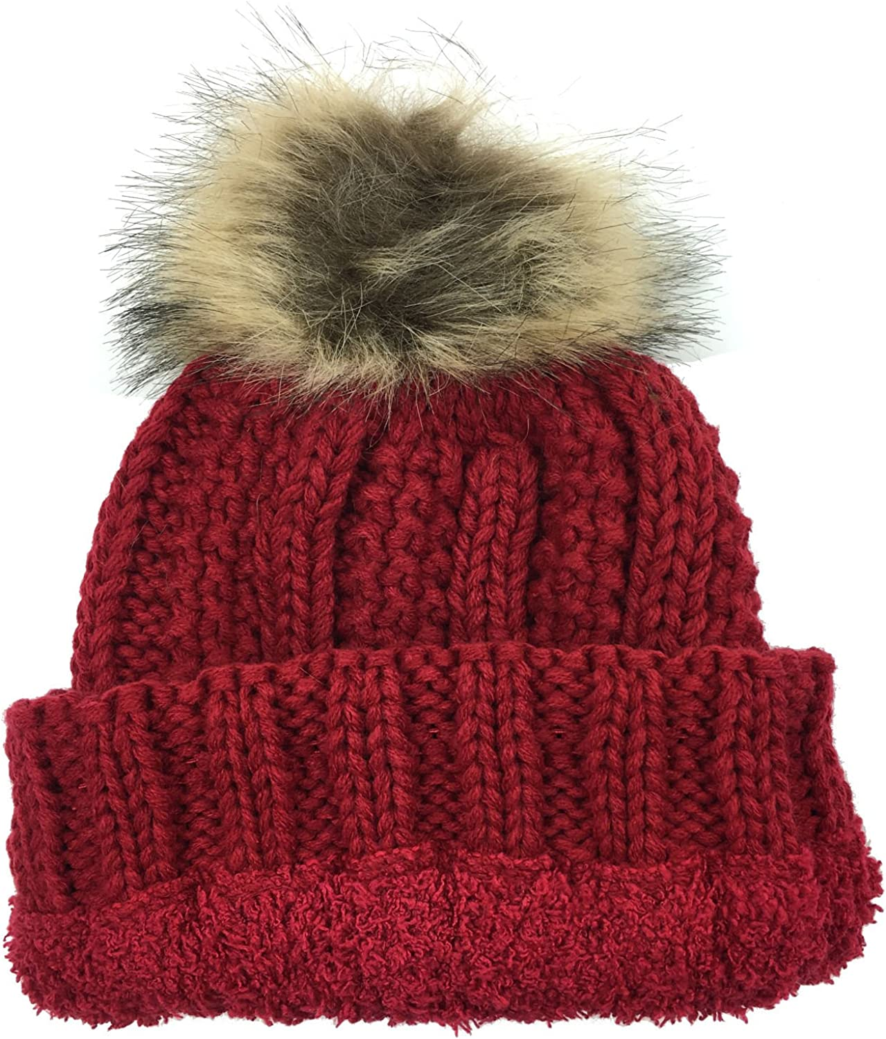 Plum Feathers Thick Faux Fur Pom Pom Fleece Lined Skull Cap Cuff Beanie for Kids Ages 2-7