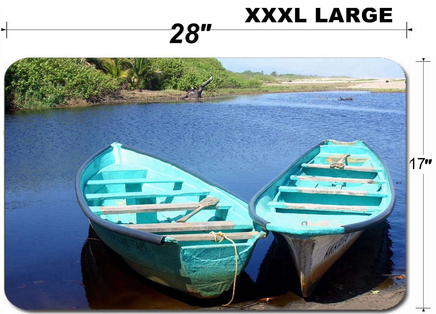 Liili Large Table Mat Non-Slip Natural Rubber Desk Pads two fisherboat at river entering the pacific ocean Oaxaca Mexico Latin America Photo 689337