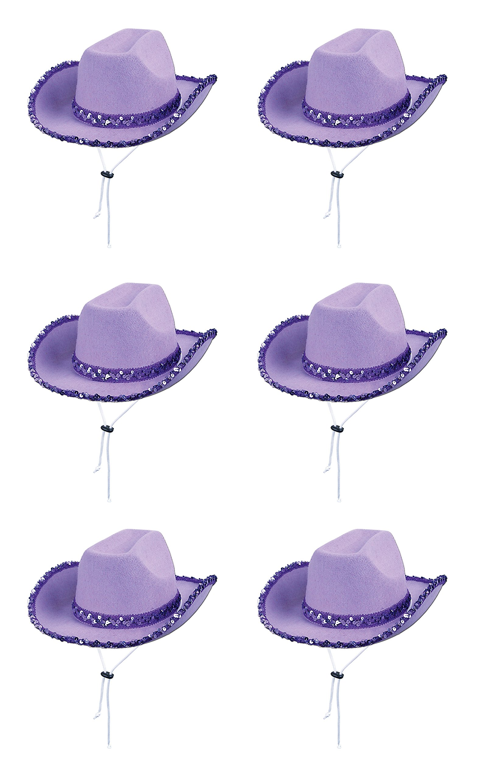 Beistle 60258 6-Piece Sequin Cowgirl Hat