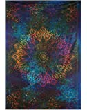Twin Blue Tie Dye Bohemian Tapestry Elephant Star Mandala Tapestry Tapestry Wall Hanging Boho Tapestry Hippie Hippy Tapestry Beach Coverlet Curtain, 86 x 56 Inches