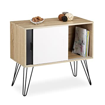 Relaxdays Retro Sideboard 60s Design Wood And Metal Console Table
