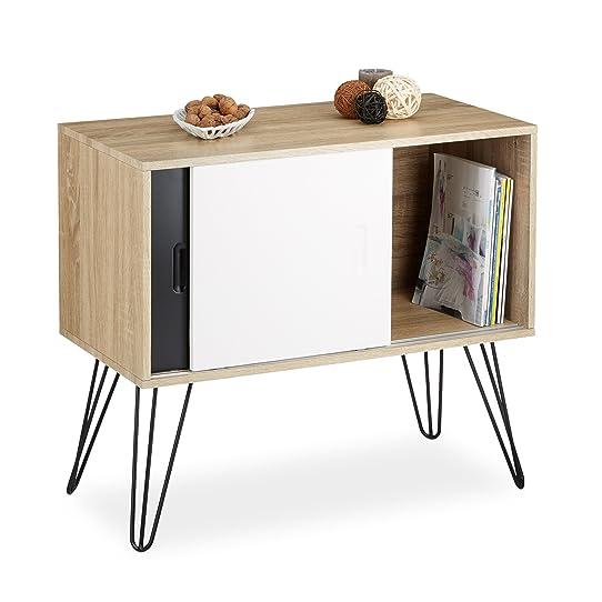 Relaxdays Commode retro design en bois et métal années 60 ...