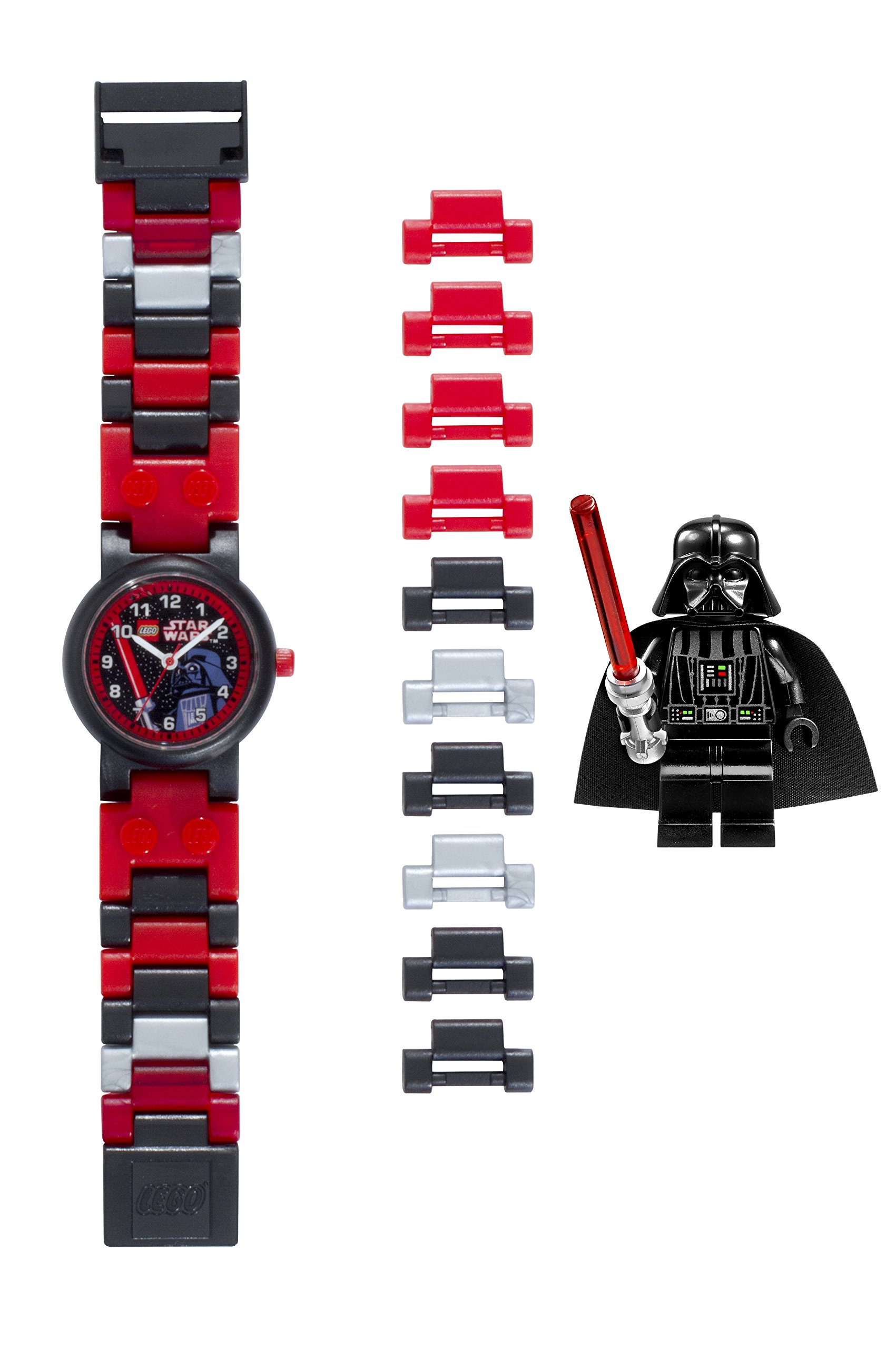LEGO Star Wars 8020301 Darth Vader Kids Buildable Watch with Link Bracelet and Minifigure | black/red | plastic | 25mm case diameter| analog quartz | boy girl | official by ClicTime