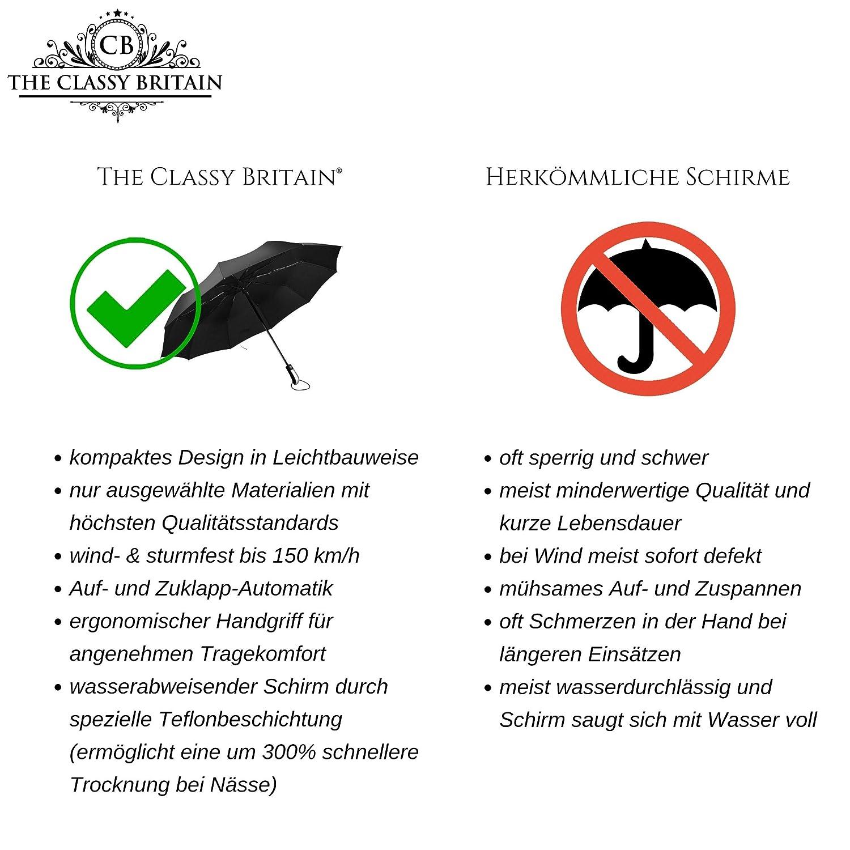 petit l/éger et compact R/ésistant aux temp/êtes jusqu/à 150 km // h rev/êtement en t/éflon r/ésistant au vent noir The Classy Britain/® stable Parapluie pliant Premium