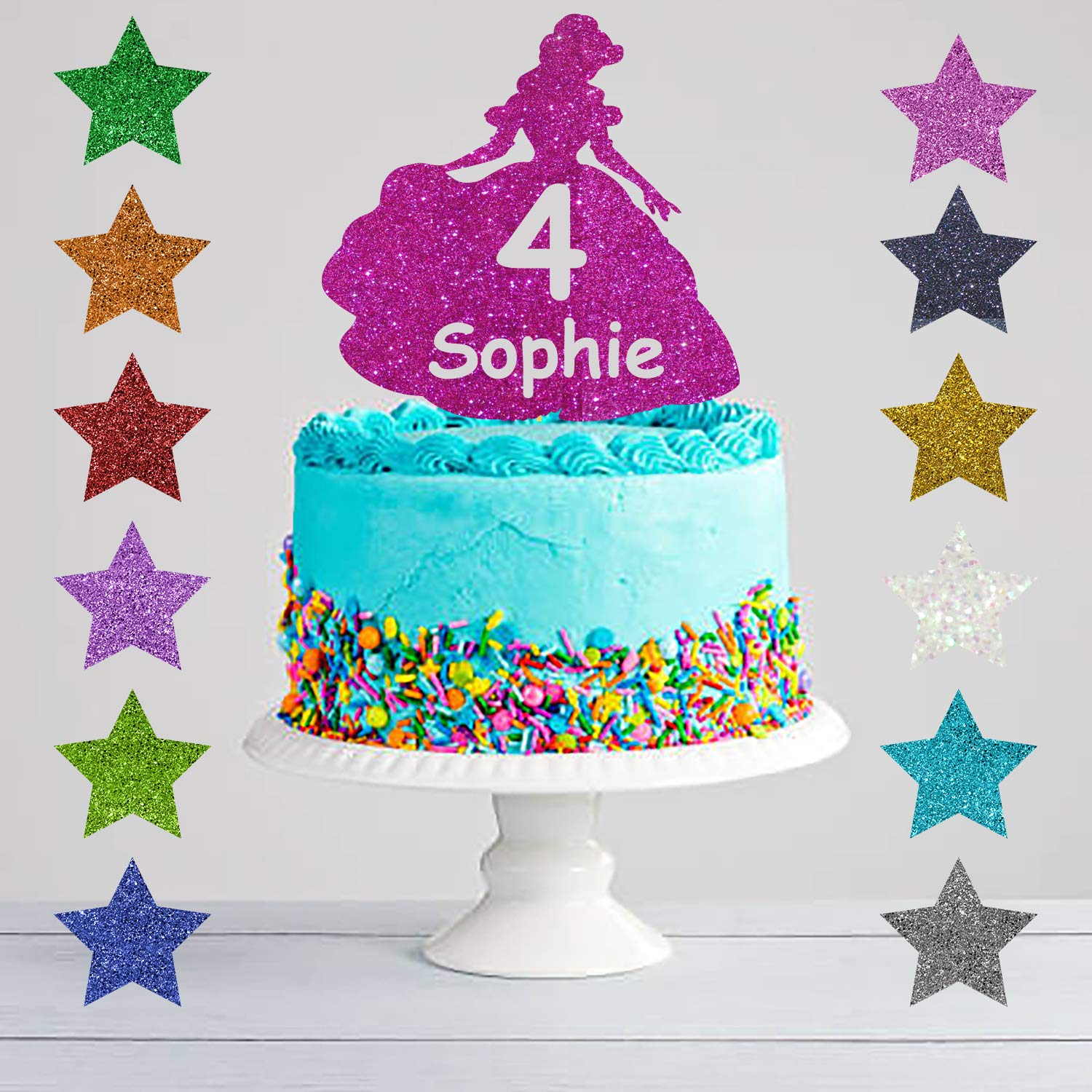 Personalised Princess Girls Glitter Cake Topper Any Name Any Age