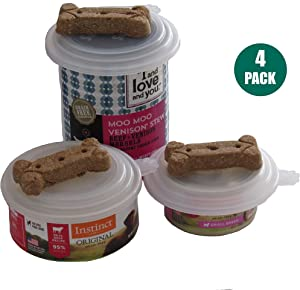 Smarter-Seal, Pet Food Can Lids, 4-Pack, Clear Color, For Dog and Cat Food, One Size Lid Fits Most Sizes