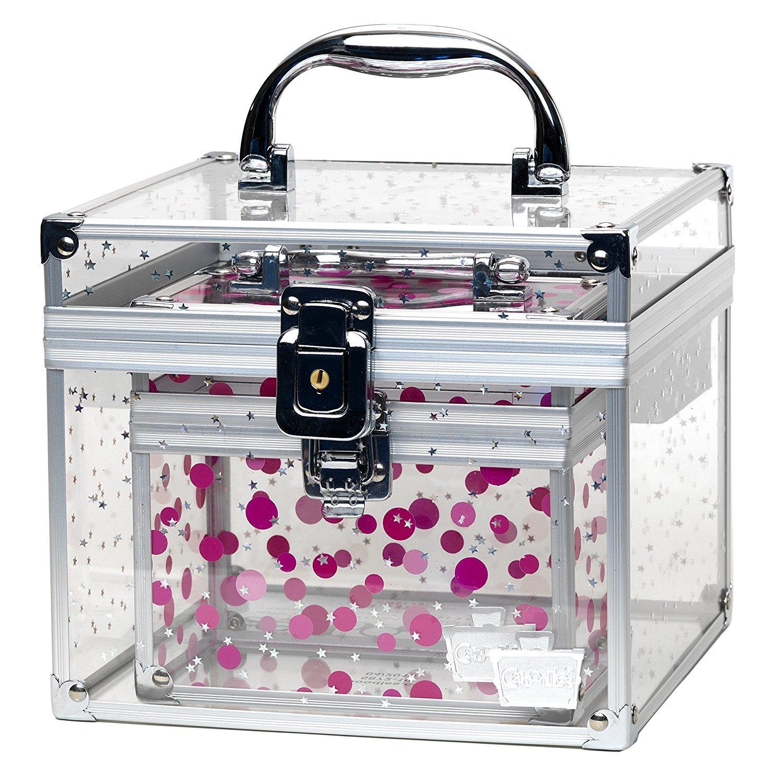 Caboodles Prima Donna Medium Case with Holographic Stars and Pink Dots Bonus Case (1 Unit)