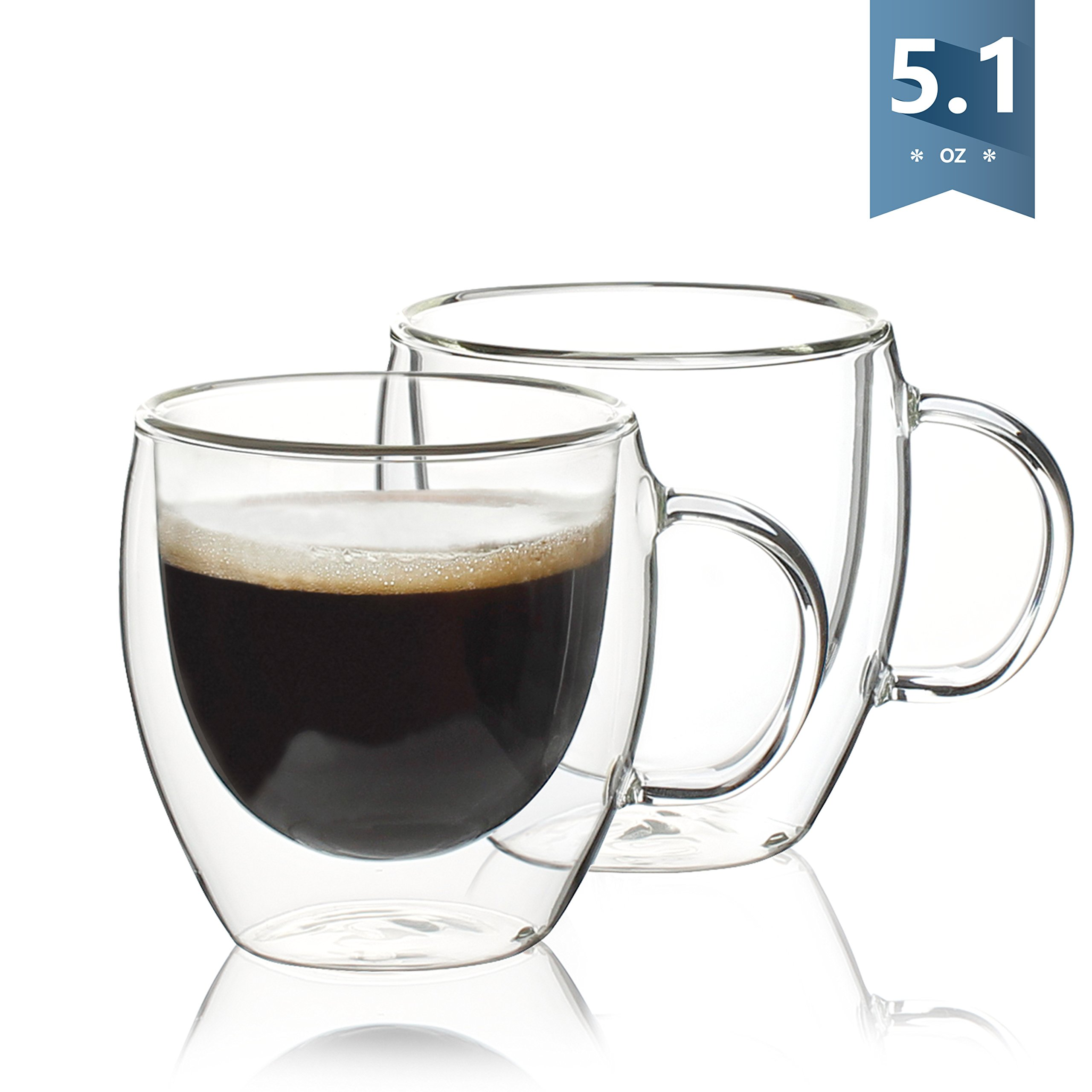 Sweese Espresso Cups - Double Wall Insulated Coffee Glasses with Handle - 5.1 Ounces Mug, Set of 2